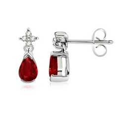 Pear Ruby and Diamond Dangling Earrings