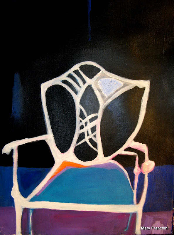 """White Chair"" Gouache/Acrylic"