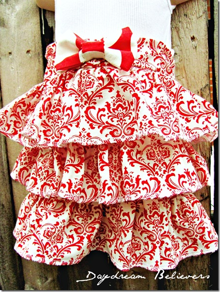 one of a kind christmas skirt handmade boutique apparel red and white damask