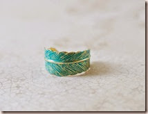 Blue Verdigris Patian Brass Feather Ring