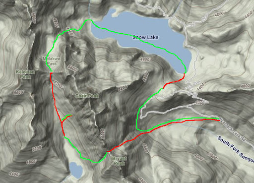 Red is up, Green is down. Went over Bryant pass to Melakwa lake up over Melakwa pass to Chair lake, down over Snow Lake and back to the car by Source Lake