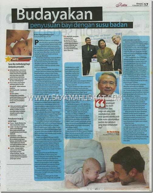 Berita Harian_Ratu_Budayakan Penyusuan Bayi dengan Susu Badan_Shaklee One Stop Centre_SayaMahuSihat