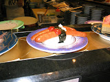 Hot dog sushi, at a restaurant in the Dolphin Port mall, Kagoshima City