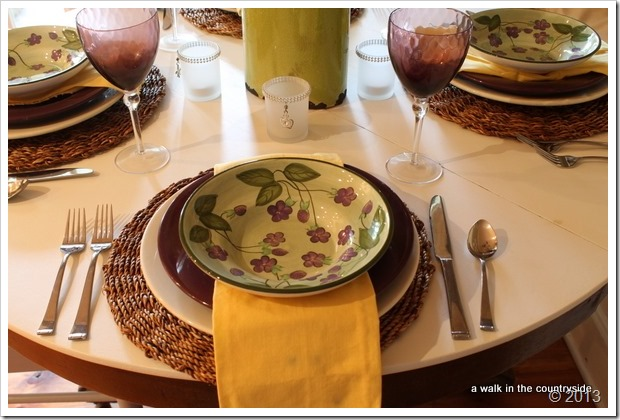 purple, green and yellow tablescape
