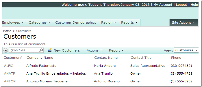 No address fields displayed in grid1 of Customers controller when logged in as 'user'.