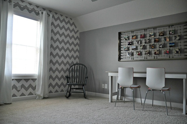 Chevron Wall Stencil and Instagram display