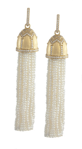 These seed pearl earrings are perfect for a wedding -- the architectural design on the top is particularly stunning.