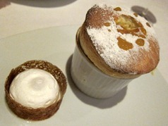Mirabelle Plum Soufflé and Coulis, Rum and Raisin Ice-Cream