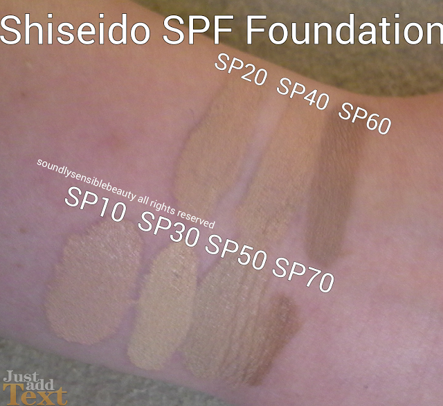 Shiseido Sun Protection & UV Protective Liquid Foundation SPF 42, PA+++ ; Review & Swatches of Shades SP20/SP02 Light Ivory, SP40/SP04 Medium Beige, SP60/SP06 Dark Beige;  SP10/SP01 Light Beige;  SP30/SP03 Light Ochre, SP50/SP05 Medium Ivory, SP70/SP07 Dark Ivory