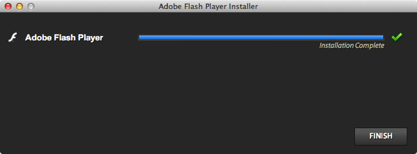Adobe flash installation complete