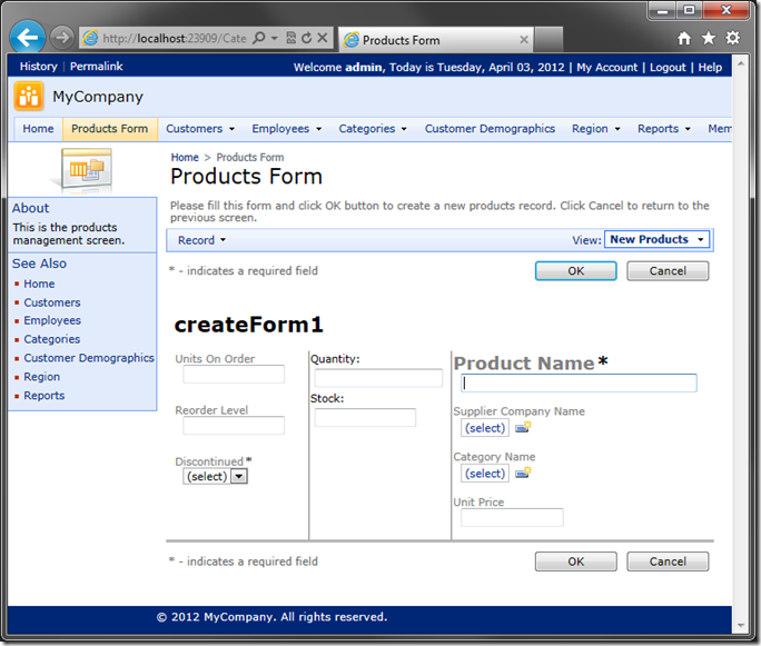 Altered 'createForm1' custom layout in Code On Time web application