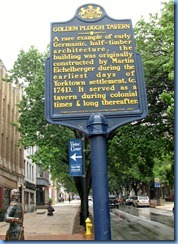 2135 Pennsylvania - York, PA - Lincoln Hwy (Market St) - 1740s Golden Plough Tavern - sign & statue of General Marquis de Lafayette