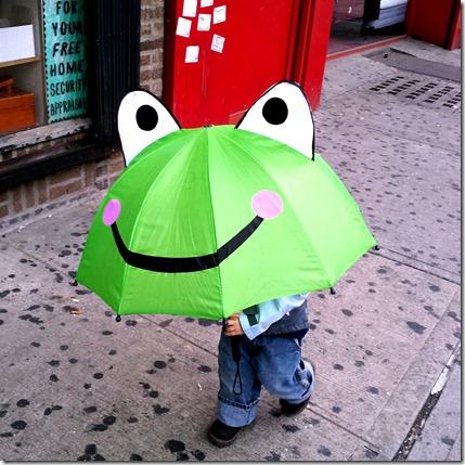 Nolan walking in rain