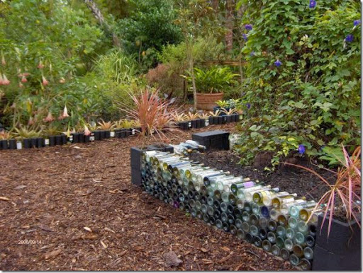 wine bottle raised garden border - Garden Edging