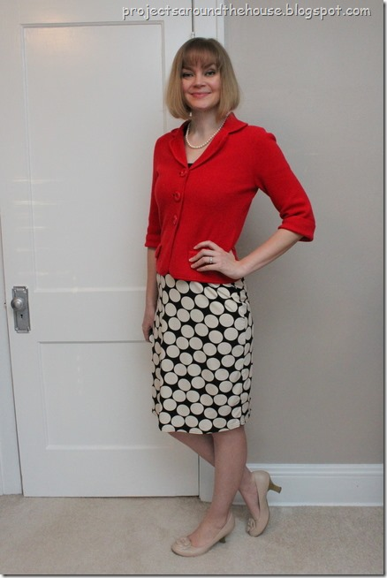 polka dot dress, red jacket
