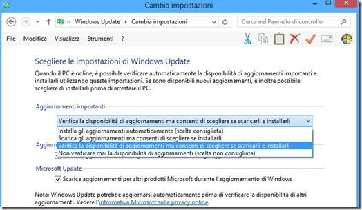 Impostazioni aggiornamenti Windows 8