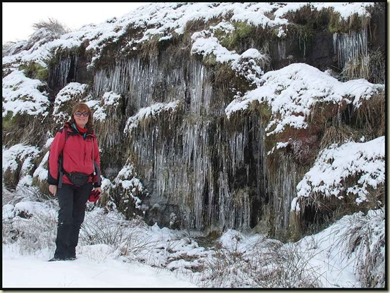 Barbara, by Cragg Quarry's icicles