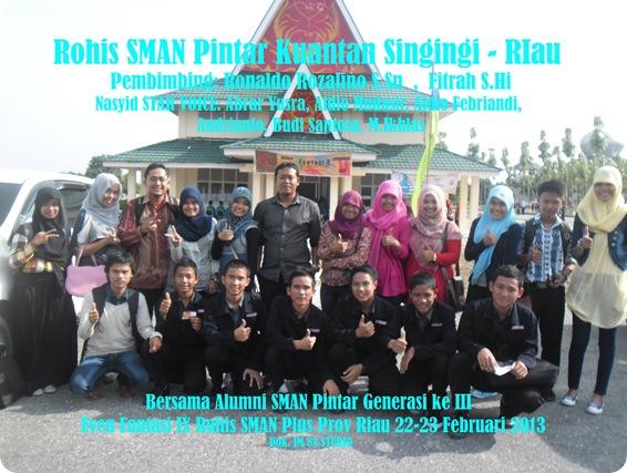 Bersama Alumni SMAN Pintar Kuantan Singingi di EVen Fantasi ke 9 Rohis SMAN Plus Prov Riau