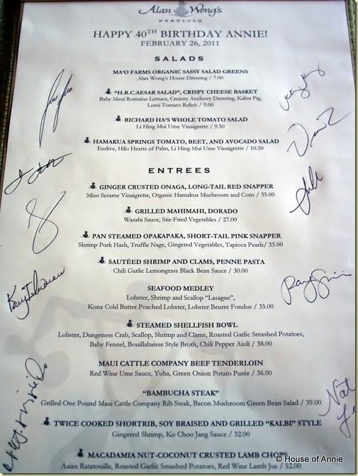 Alan Wong's menu