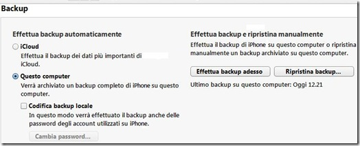 Fare backup iPhone su Questo computer