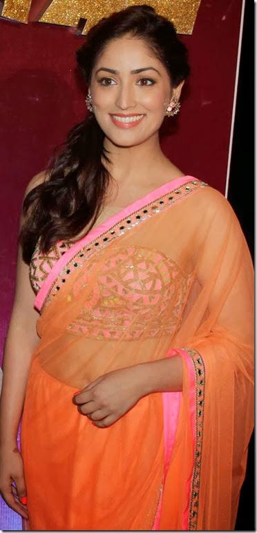 Actress Yami Gautam in Orange Saree Hot Photos