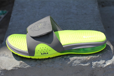 news lebron 9 flip flops grey volt 01 Nike Air LeBron Slide 487332 007 Cool Grey / Volt