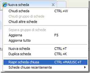 Riaprire scheda chiusa per sbaglio con Internet Explorer