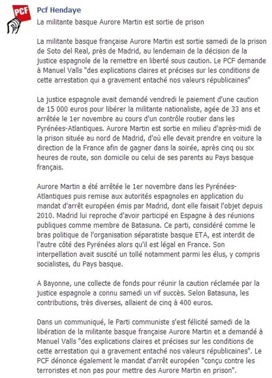 Aurore Martin demanda del PCF