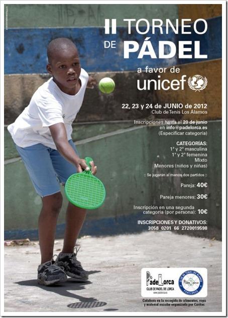 II Torneo de Pádel a favor de UNICEF en el Club de Tenis Los Álamos de Lorca, junio 2012.