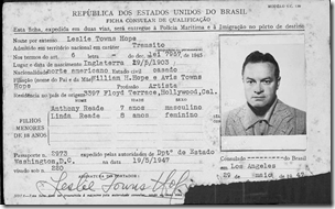Bob Hope's 1948 Brazilian immigration card