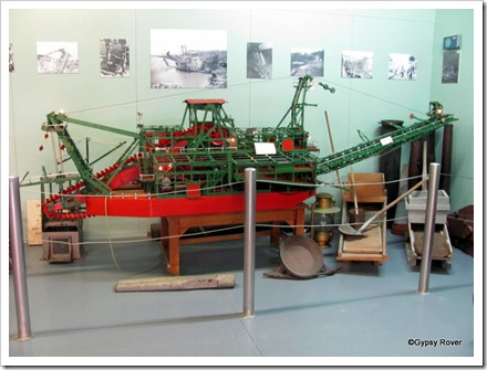 Meccano model of a gold dredger which took 45000 pieces and 3000 hours to complete.