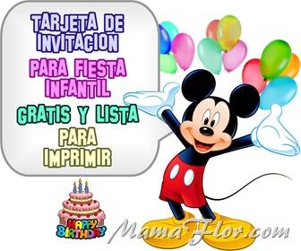 Tarjeta de Invitación de MICKEY MOUSE para Imprimir - Invitaciones de Fiesta Infantil