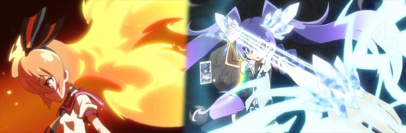 A composite of two shots: Akari in profile looking down as her hair blazes behind her, and Seira dramatically pulling back a crystal energy arrow