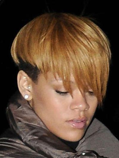 Rihanna short haircut with bangs picture
