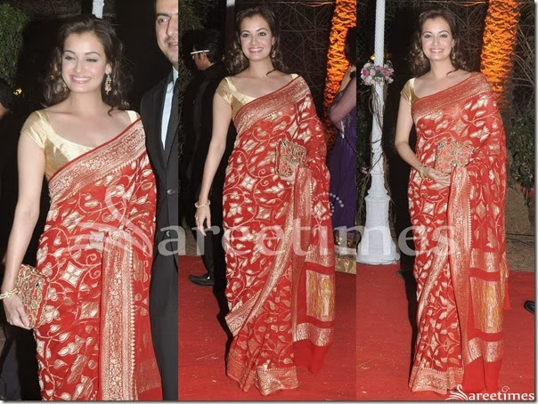 Dia_Mirza_Red_Gold_Saree