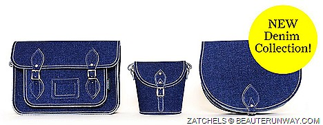 Zatchels Denim Satchels Bags 2013 Saddle Barrel Bags 2013 Collection handcrafted England cow hide leather enhanced with  stonewash denim jeans surface vintage blue contrast stitching's, silver nickel buckles strap