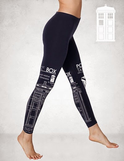 TARDIS leggings from GeekyU1 on Etsy