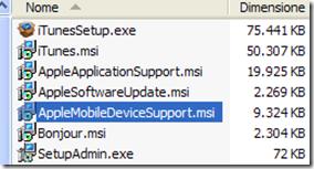 Applicazioni estratte dal file di installazione di iTunes