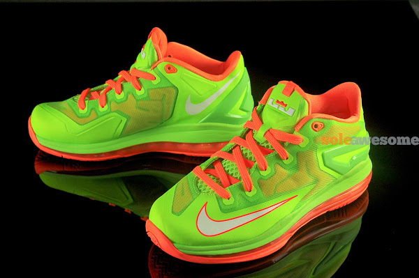Nike Lebron XI Low GS in Bright Volt and Really Bright Orange