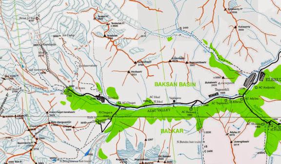 Carte : Terskol, Cheget, Elbruz