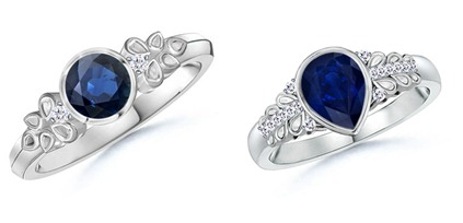 Round Sapphire and Diamond Vintage Ring