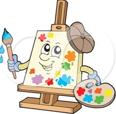 213081-Royalty-Free-RF-Clipart-Illustration-Of-A-Canvas-Character-Painting