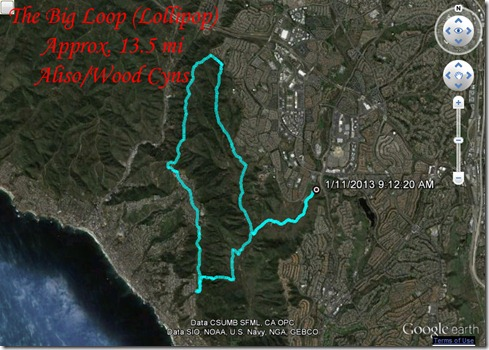 Running Big Loop Aliso clockwise 1-11-2013