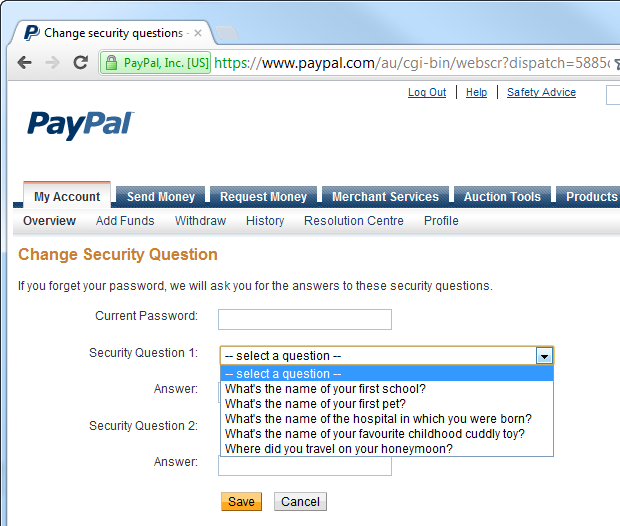 Possible secret questions on PayPal