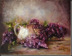 White Jug and Lilacs. 11x14
