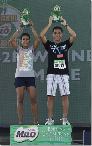 Elite Runners Eric Paniwue and Luisa Raterta blew the competion away at the 42K division race of the 37th National MILO Marathon Manila Qualifying Leg