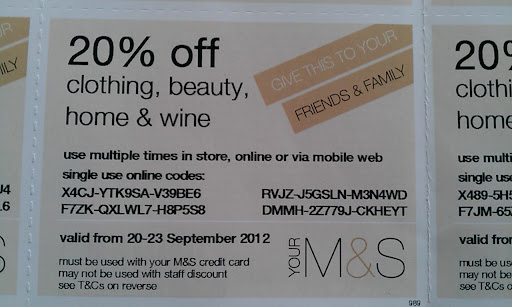 Marks and spencer discount coupons
