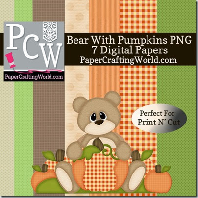 bear w pumpkin digi set-490