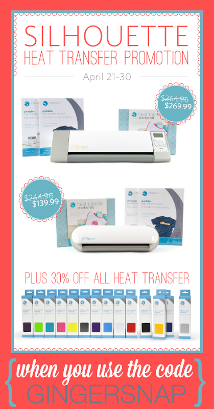 Silhouette Heat Transfer Promotion at SilhouetteAmerica.com using the code GINGERSNAP at checkout #SilhouetteCAMEO #SilhouettePortrait #spon