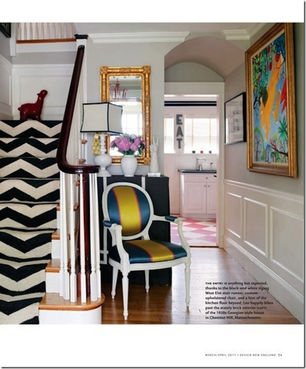 Love this foyer with the stripe staircase- design addict mom